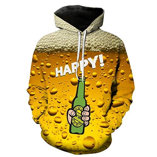 Xmiral Hoodie Sweatshirt Herren 3D Bier Drucken Kapuzenpullover mit Tunnelzug Tasche Herbst Camping Outdoor Tops Pullover für Oktoberfest(Gelb 4,XXL) Active Iv Softshell