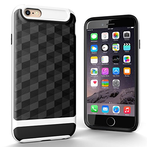 "iPhone 6s Plus Hülle, HICASER Dual Layer Case Shock Proof Prism Textur TPU +PC Bumper Handytasche Schutzhülle für iPhone 6 Plus / 6s Plus 5.5"" Schwarz Schwarz / Weiß"