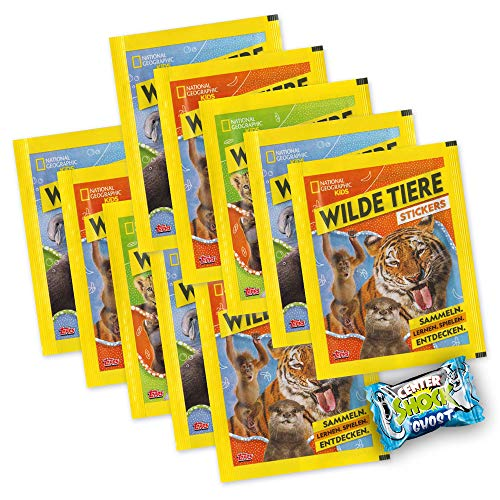 National Geographic Kids - Wilde Tiere - 10 Booster 50 Sticker + Center Shock - deutsche Ausgabe -