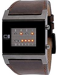 Binary THE ONE Kerala Trance KT1109R1 - Reloj digital de caballero de cuarzo con correa de piel marrón - sumergible a 30 metros