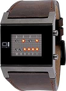 The One - KT1109R1 - Montre Homme -Quartz - Système affichage binaire par Led - Bracelet en Cuir marron