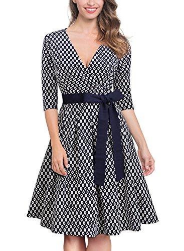 50er Jahre Retro Kleid Rockabilly V-Ausschnitt Cocktailkleid Partykleid Navy Blau