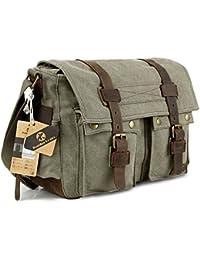 Koolertron- Bandolera Militar Mochila Vintage mochila de Lona Bandolera de senderismo / viaje / montaña