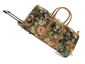Tapestry canvas Weekend Travel/Flight/Overnight wheeled Holdall Bag with retractable handle (Moon Flower) - Gobelin Style