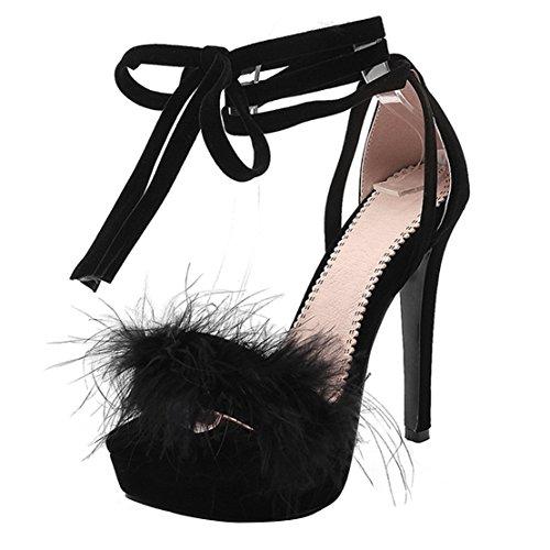 AIYOUMEI Knöchelriemchen Sandalen mit Fell Damen Plateau Stiletto High Heels Sandalen Zum Schnüren