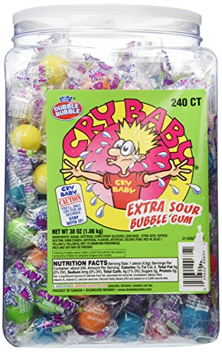 Cry Baby Extra Sour Bubble Gum 240ct. Tub by Cry Baby [Foods] (Candy Baby Cry)