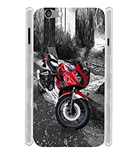 Red Sports Bike Scooter Soft Silicon Rubberized Back Case Cover for Oppo Neo 5 (2015)