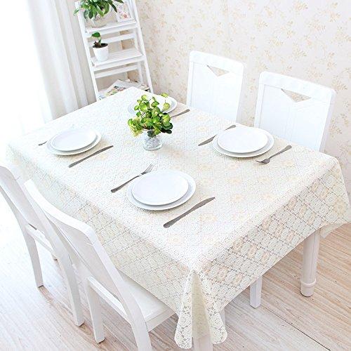 FLYRCX Nappe en Dentelle Blanche rectangulaire PVC imperméable,Tapis de Table mm 137 * 137 cm
