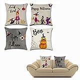 OFKPO 4 piezas Halloween almohada cubre - Halloween algodón lino cuadrado decorativo sofá