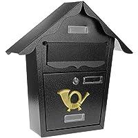 PrimeMatik - Buzón metálico para Cartas y Correo Postal de Color Negro 366 x 100 x 370 mm