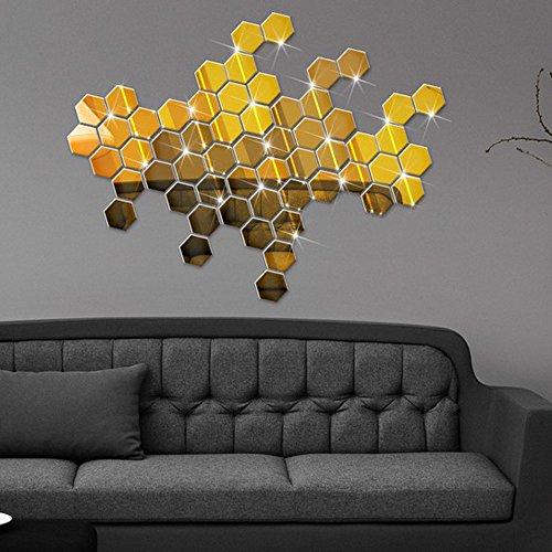 Zegeey 12 Stücke 3D Spiegel Hexagon Vinyl Abnehmbare Wandaufkleber Aufkleber Wohnkultur