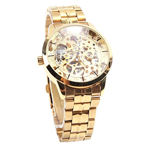 Winner Maenner Zifferblatt Mechanische Skeleton Automatic Herrenuhr Armbanduhr Golden