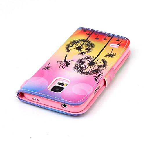 Meet de Samsung Galaxy S5 i9600 Bookstyle Étui Housse étui coque Case Cover smart flip cuir Case à rabat pour Galaxy S5 Coque de protection Portefeuille - this iphone is locked slide to unloke Dandelion Ange