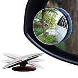 Ndier Justierbarer blinder Punkt Spiegel Runde HD Glas Frameless Convex Rückspiegel für LKW, Geländewagen, Anhänger, größere Fahrzeuge 2ST Autozubehör