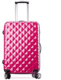 Valise cabine rigide 4 roues double - ultra léger - 56 cm fuchsia 20068 - Partyprince (Fuchsia)