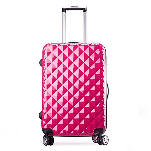 Valise cabine extensible +6cm rigide 4 roues double - ultra léger - 57 cm 20068 - Partyprince (Rosé extensible)