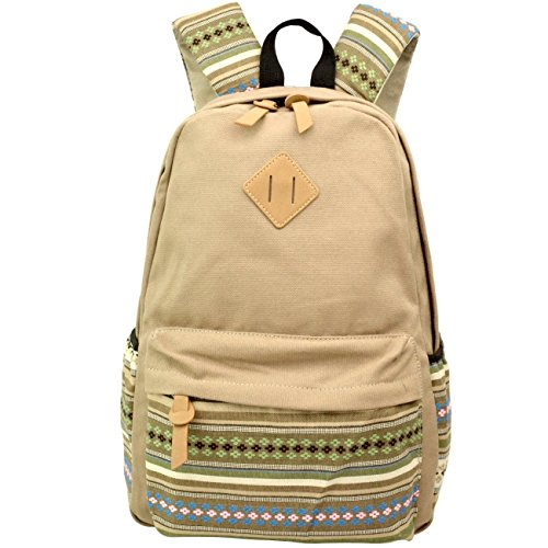 Aeoss Backpack Girls Women Bohemian Aztec Tribal Print Bag (Light Brown)