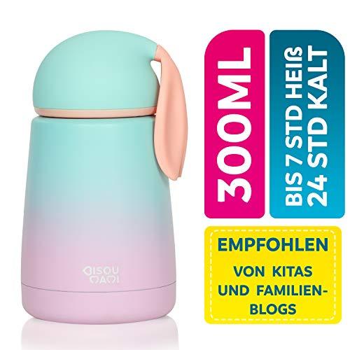BISOU MAMI® Edelstahl Thermoskanne für Baby und Kinder - Auslaufsichere Isolier-Flasche Cataleya in niedlichem Design - BPA freie Trinkflasche mit 100% Isolierung - Thermosflasche (Aqua Pink)