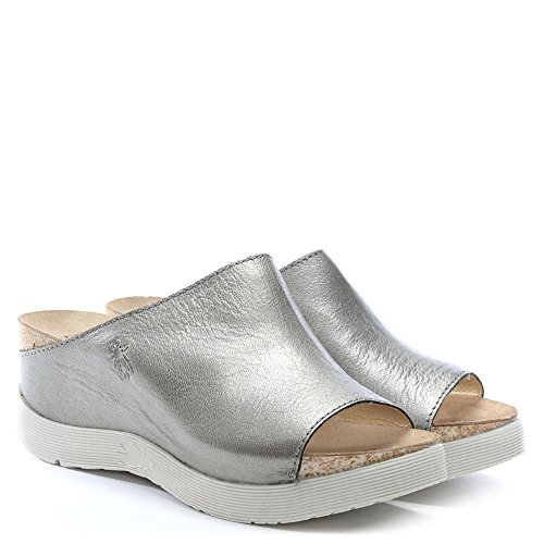 Fly London Mules de Coin wigg Argent Cuir Lead