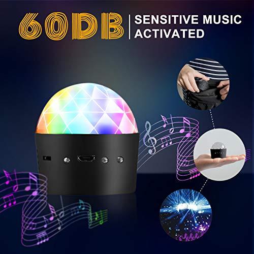 Discokugel, Cobiz discolicht, Musikgesteuert Discolicht Partylicht mit 3W RGB 3 Led,MINI Tragbar Wiederaufladbar Partykugel Discolicht Für Kinder, Party usw.