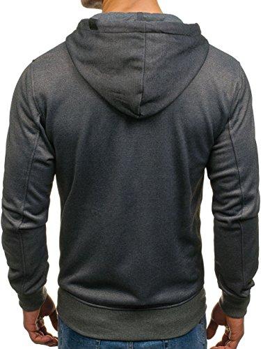 BOLF – Felpa con cappuccio – Logo – Con zip – Uomo [1A1] Grafite