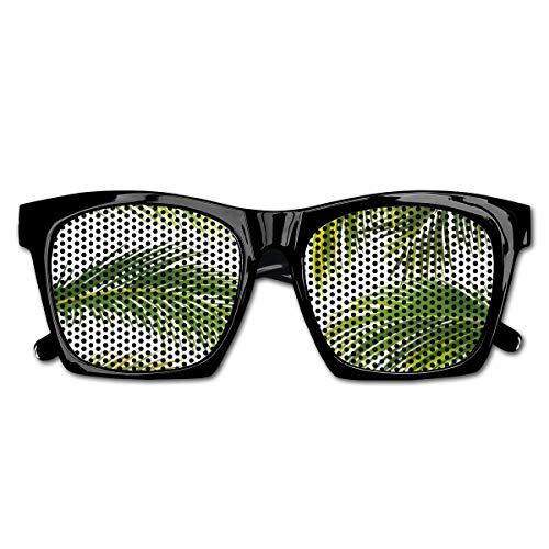 EELKKO Mesh Sunglasses Sports Polarized, Vivid Palm Leaves Growth Jungle Lush Foliage Summer Forest Botany,Fun Props Party Favors Gift Unisex