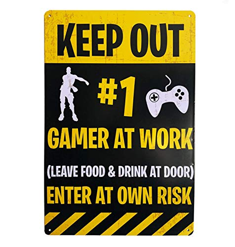 """Gaming """"KEEP OUT"""" door sign - Funny Novelty Gift for obsessive Gamers! Perfect for Teens"""