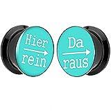Piersando® 1 Paar 2er Set Ohr Plug Piercing Kunststoff Flesh Tunnel Ohrplug mit Hier rein Da raus Spruch Schwarz Motiv Comic Picture Türkis 14mm