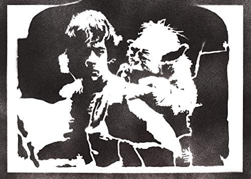 Poster Luke Skywalker e Yoda STAR WARS Handmade Graffiti Street Art - Artwork