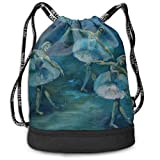 Rtytgfdw Multi-Functional Unisex Watercolor Ballet Pattern Beam Mouth Backpack