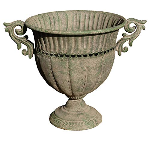 Esschert Design Metall Amphore im antiken Landhausstil Blumentopf Pflanztopf Pflanzschale