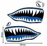 2 Stück Vinyl Aufkleber Autoaufkleber Blau Haifischmaul Zähne Haifisch Shark Teeth Fischen Meerestier Fischerboot Stickers Spiegel Auto Moto Motorrad Fahrrad Helm Fenster Tür Tuning B 63