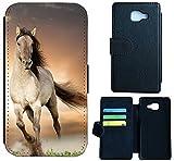 Flip Cover Schutz Hülle Handy Tasche Etui Case für (Samsung Galaxy A5 (Modell 2016) A510, 1005 Pferd Braun Weiß Hengst)