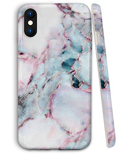 ZUSLAB Handyhülle für Apple iPhone XS Hülle 2018 / iPhone X Hülle Glatt Weiches TPU Silikon Gel Dünn Schlankes Hülle - Minze Marmor