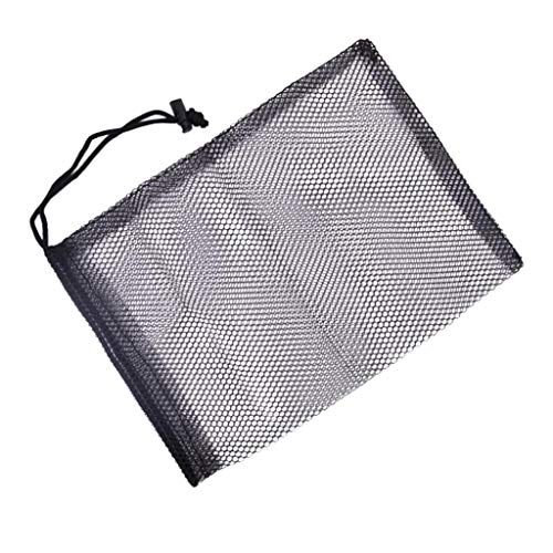 SM SunniMix Schwarz Netztasche mit Kordelzug für 45pcs Golfbälle, 30 x 20 cm