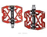 JFF Vélo pédales Ultra-léger en Alliage d'aluminium pédale VTT équipement d'équitation,Red