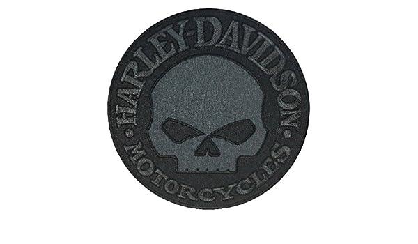 LG 8 x 8 inch EM1048804 Harley-Davidson Black Willie G Skull Emblem Patch