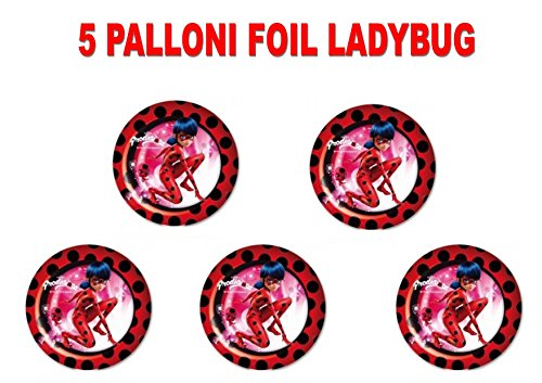 PARTY STORE WEB by casa dolce casa Ladybug Miraculous Fußball Foil Luft Oder Helium Party Dekoration und Tisch-CDC (5Bälle Foil)