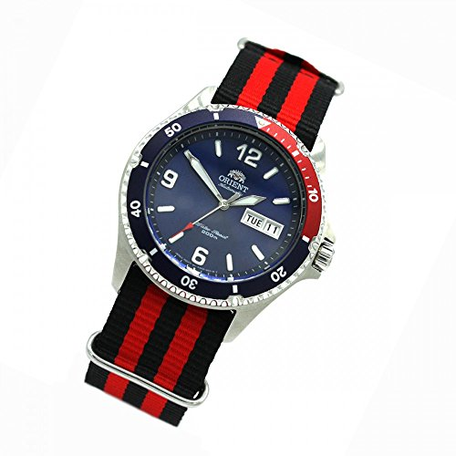 Orient 5Deep Automatic Day Date Mako II Diving Watch Diver Men's Watch Nato Black/Red FAA02009D