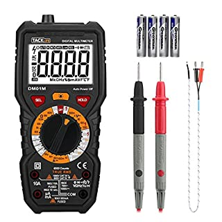 Tacklife Multimeter, DM01M Digital True RMS 6000 Counts Tester Non Contact Voltage Detection, AC/DC Voltage with LCD Backlight