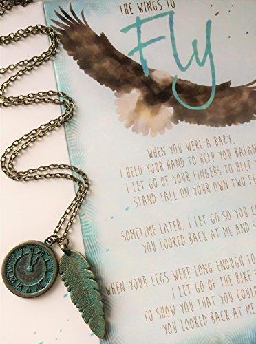 Smiling Wisdom - The Wings to Fly Encouraging Karte & Patina Feder Uhr Auto Ornament Geschenk Set für Sohn oder Tochter - älteres Kind von Mama oder Papa