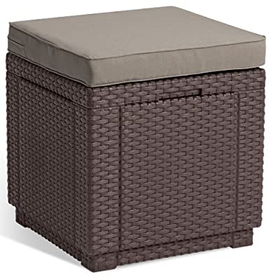 Allibert 189449 Cube Stool with Cushion Rattan Finish Plastic Brown