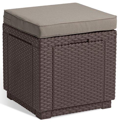 Allibert Kunststoff Hocker, Garten Hocker,  Sitzwürfel mit Kissen, Braun, Hocker Cube