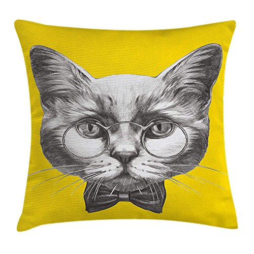 Animal Throw Pillow Cushion Cover, Hand Drawn Portrait of Cute Cat with Glasses and Bow Tie Sketch Hipster Print, Decorative Square Accent Pillow Case, Yellow Grey White20 Orange Silk Bow Tie