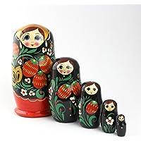 Heka Naturals Matryoshka muñecas Rusas Hechas a Mano Hechas a Mano en Rusia 5 Piezas 12 cm Juguete de Madera (5 muñecas, 12 cm (Fresa))