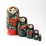 Heka Naturals Matroschka Russische Puppen Babushka Erdbeere Babuschka Hand Made in Russland Holz Geschenk Spielzeug (5 Stücke 12 cm Erdbeere)