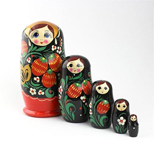 Heka Naturals Matroschka Russische Puppen Babushka Erdbeere Babuschka Hand Made in Russland Holz Geschenk Spielzeug (5 Stücke 12 cm ()