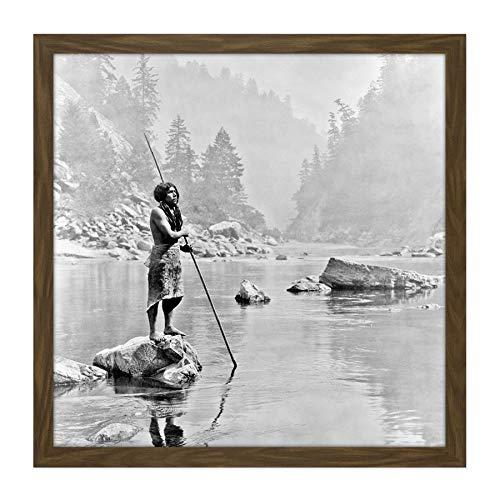 Curtis Native American Hupa Smoky Day Sugar Bowl Photo Square Wooden Framed Wall Art Print Picture 16X16 Inch Eingeborener amerikanisch Fotografieren Holz Wand Bild Square Sugar Bowl