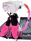 AQUAZON MIAMI Schnorchelset, Schwimmset, Tauchset, Taucherbrille mit anti fog tempered glas, Silkon, Semi Dry Schnorchel, verstellbare Flossen für Kinder, size:32/37, colour:pink