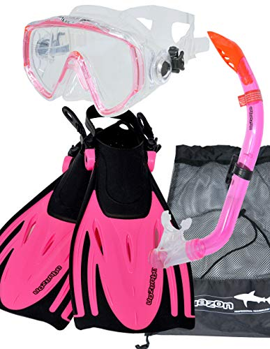 AQUAZON MIAMI Schnorchelset, Schwimmset, Tauchset, Taucherbrille mit anti fog tempered glas, Silkon, Semi Dry Schnorchel, verstellbare Flossen für Kinder, size:27/31, colour:pink